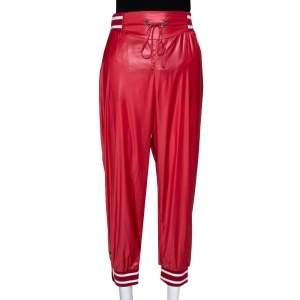 McQ by Alexander McQueen Red Synthetic & Rib Trim Joggers S