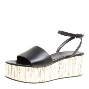McQ by Alexander McQueen Black Leather Wooden Platform Ankle Wrap Sandals Size 38