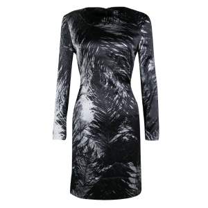 McQ by Alexander McQueen Monochrome Printed Silk Satin Long Sleeve Dress M