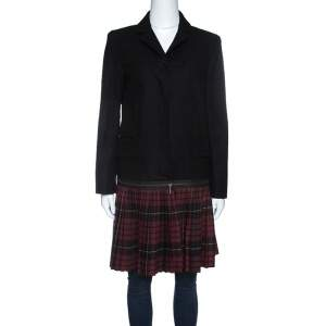 McQ By Alexander Mcqueen Black Convertible Wool Blend Tartan Plaid Kilt Coat M