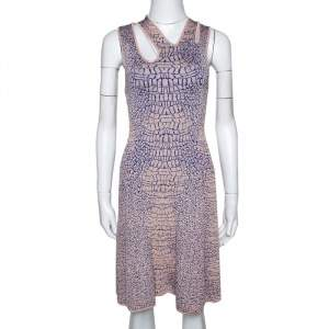 McQ by Alexander McQueen Pink and Blue Crocodile Patterned Jacquard Fit and Flare Dress XS