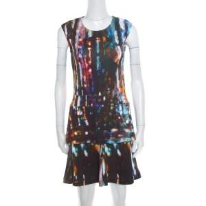 McQ by Alexander McQueen Blurry Lights Printed Jersey Sleeveless Peplum Dress S