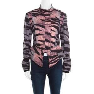 McQ by Alexander McQueen Multicolor Houndstooth and Animal Printed Angular Peplum Jacket S