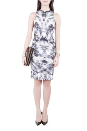 McQ by Alexander McQueen Grey Mirrored Iris Print Jersey Sleeveless Bodycon Dress XS