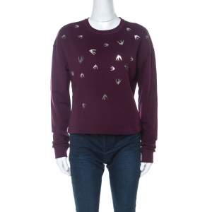 McQ by Alexander McQueen Burgundy Knit Swallow Embellished Jumper XS