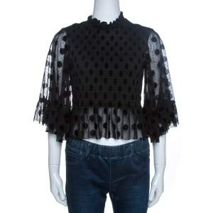 McQ by Alexander McQueen Black Shirred Tulle Peplum Top S