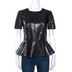 McQ by Alexander McQueen Black Leather Peplum Top M