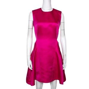 McQ by Alexander McQueen Pink Satin Gather Back Detail Cocktail Dress S