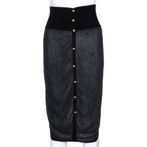 McQ by Alexander McQueen Monochrome Patterned Stretch Knit Button Detail Skirt XS