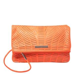 McQ by Alexander McQueen Neon Orange Laser Cut Fold Over Clutch