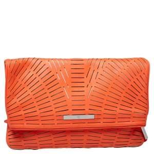 McQ by Alexander McQueen Neon Orange Laser Cut Fold Over Clutch