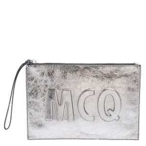 MCQ by Alexander McQueen Metallic Silver Leather Wristlet Clutch