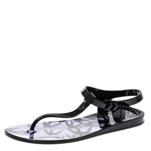 McQ by Alexander Mcqueen Black Swallow Print Jelly Sandals Size 37/38
