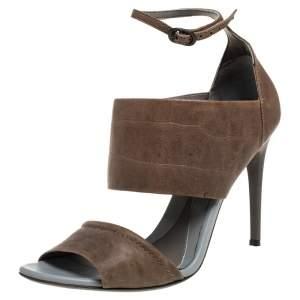 Alexander McQueen Brown/Grey Croc Embossed Leather Sandals Size 39