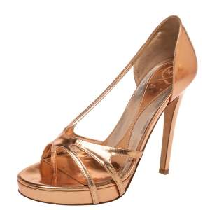 McQ By Alexander McQueen  Rose Gold Leather Slip On Sandals Size 38