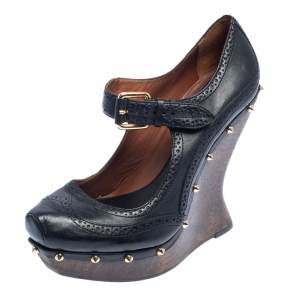 McQ By Alexander McQueen Black Leather Studded Wedge Pumps Size 38
