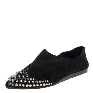 McQ by Alexander McQueen Black Suede Liberty Folding Flats Size 38