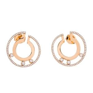 Messika Move Romane Diamond 18K Rose Gold Hoop Earrings