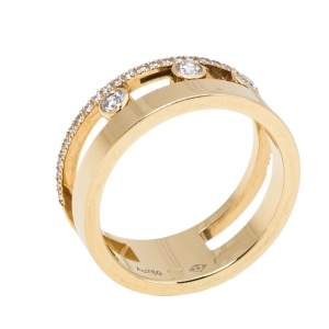 Messika Move Romane Diamond 18K Yellow Gold Ring Size 53