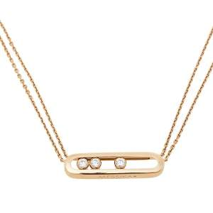 Messika Move Diamond 18K Rose Gold Double Chain Pendant Necklace