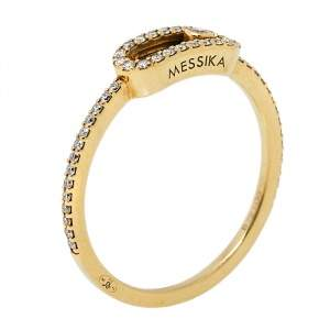 Messika Move Uno Pave Diamond 18K Yellow Gold Ring Size 52