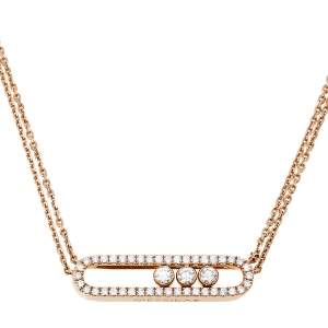Messika Move Pave Diamond 18K Rose Gold Double Chain Necklace