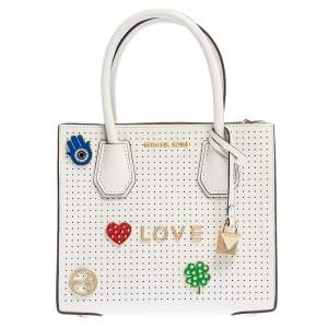 Michael Kors White Perforated Leather Mercer Love Tote