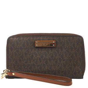 "Michael Kors Brown Leather ""Jet Set"" Wallet"