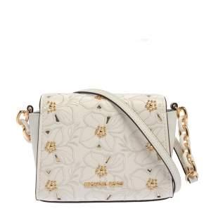 Michael Kors White Leather Studded Sofia Shoulder Bag