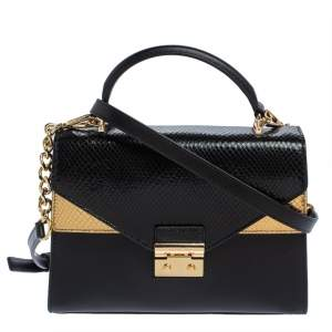 Michael Kors Black/Gold Python Embossed and Leather Sloan Top Handle Bag