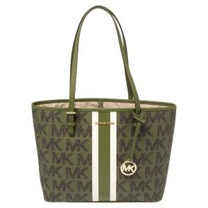 Michael Kors Green/Brown Signature Canvas Medium Carryall Tote