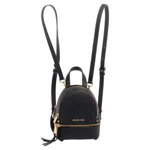 Michael Kors Black Leather Mini Rhea Backpack
