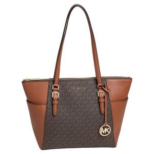 Michael Kors Brown/Tan Signature Coated Canvas and Leather Charlotte Top Zip Tote