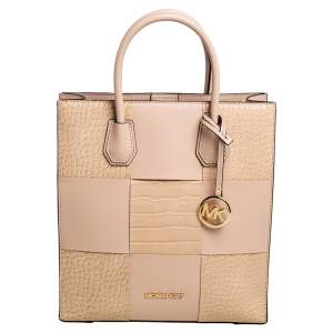 Michael Kors Two Tone Beige Croc Embossed and Leather NS Mercer Shopper Tote