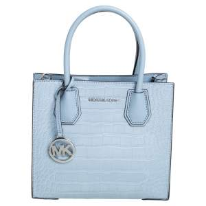 Michael Kors Pale Blue Croc Embossed and Leather Mercer Tote