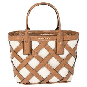 Michael Kors Beige/Tan Signature Canvas and Croc Embossed Leather Small Sienna Tote