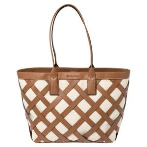 Michael Kors Beige/Tan Canvas and Leather Large Shopper Tote