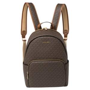 Michael Kors Brown Signature Coated Canvas Large Erin Backpack