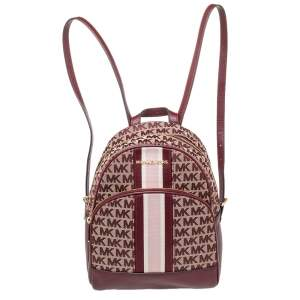 Michael Kors Burgundy Canvas And Leather Abbey Backpack