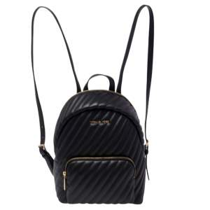 Michael Kors Black Quilted Faux Leather Medium Erin Backpack