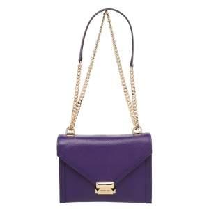 Michael Kors Purple Leather Flap Shoulder Bag