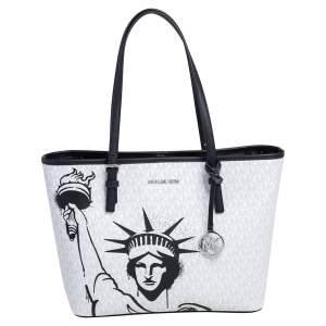 Michael Kors White/Black Coated Canvas Medium New York City Carryall Tote