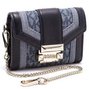 Michael Kors Blue Leather and Textile Whitney Small Chain Purse