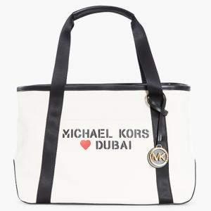 حقيبة يد توتس مايكل كورس كانفاس أبيض بالشعار