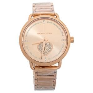Michael Kors Rose Gold Tone Stainless Steel Portia MK4468 Bracelet & Women's Wristwatch 37mm Set