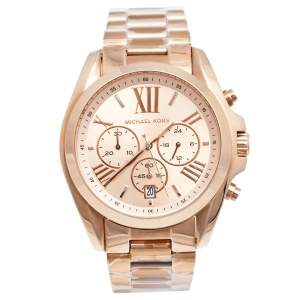 ساعة يد نسائية مايكل كورس برادشو أم كيه-5503 ستانلس ستيل مطلي ذهب وردي بيج فاتح 43 مم