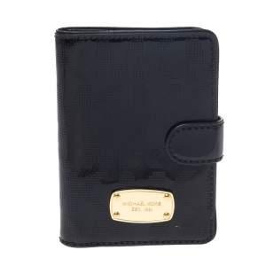 Michael Kors Black Perforated Signature Patent Leather Passport Holder