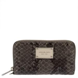 Michael Kors Grey Python Embossed Leather Multi Function Wristlet Phone Case