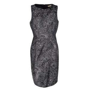 Michael Kors Grey Jacquard Sleeveless Sheath Dress L