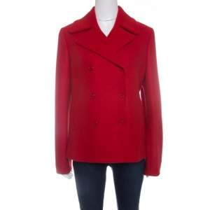 Michael Kors Red Wool Double Breasted Coat M